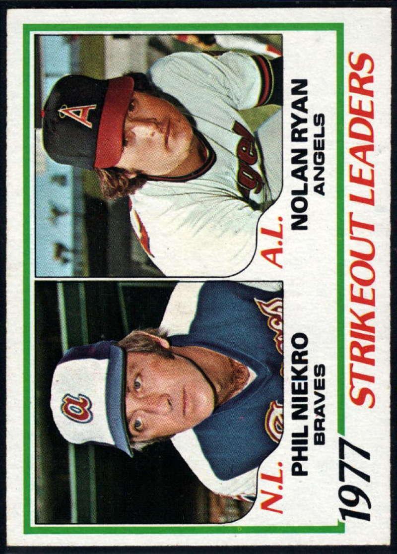 1978 Topps #206 Phil Niekro/Nolan Ryan Strikeout Leaders DP NM Near Mint