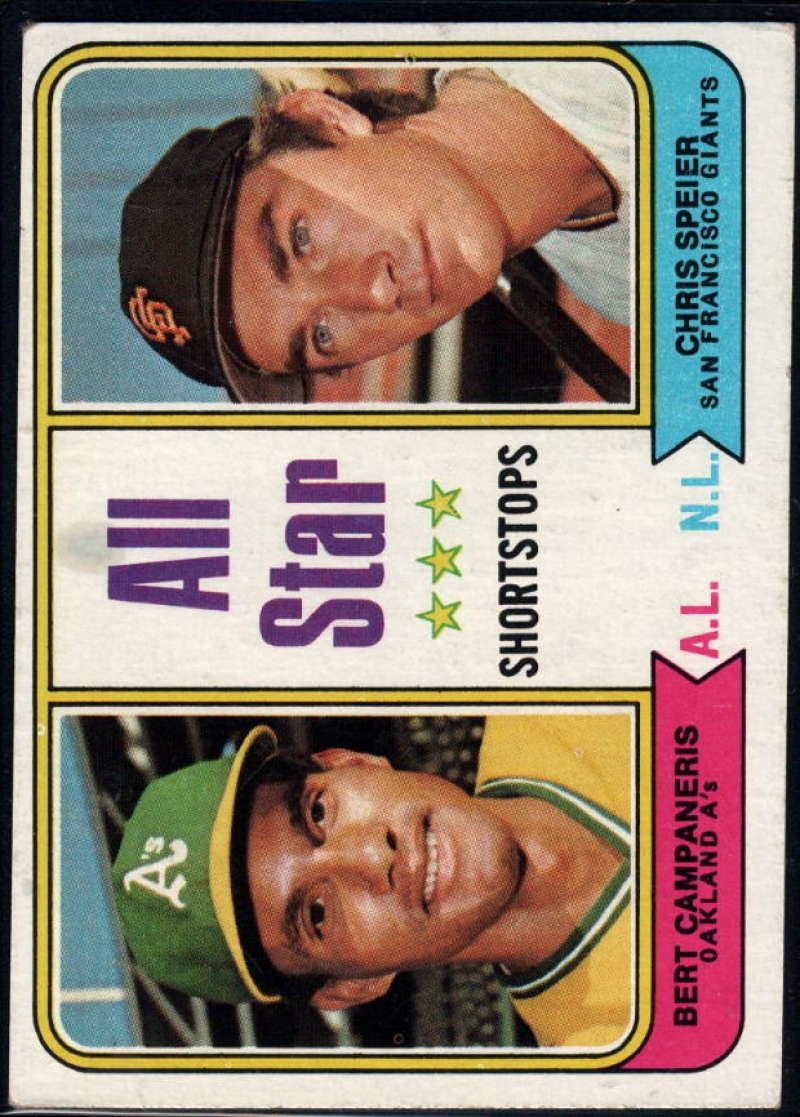 1974 Topps #335 Bert Campaneris/Chris Speier All-Star Shortstops EX/NM