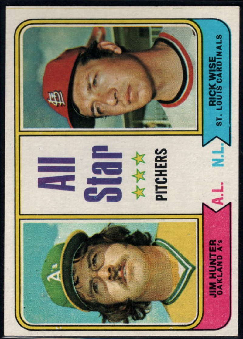 1974 Topps #339 Jim Hunter/Rick Wise All-Star Pitchers EX/NM