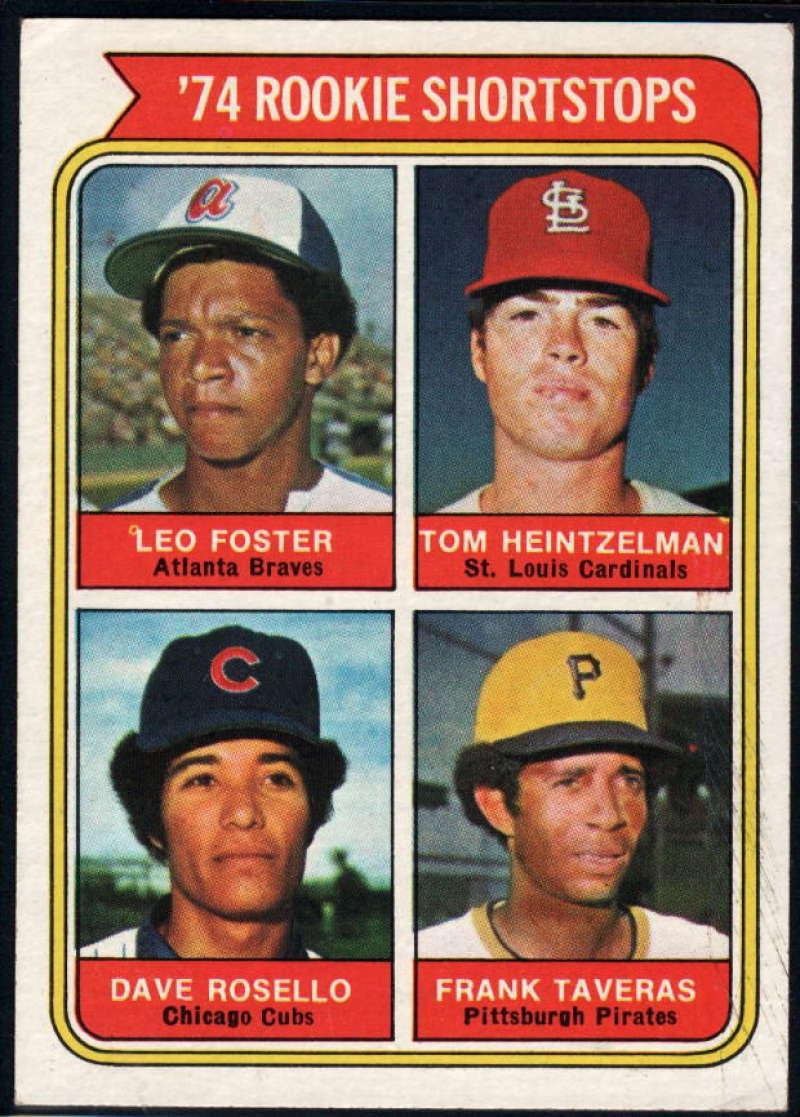 1974 Topps #607 Les Foster/Tom Heintzelman/Dave Rosello/Frank Taveras Rookie Shortstops EX/NM RC