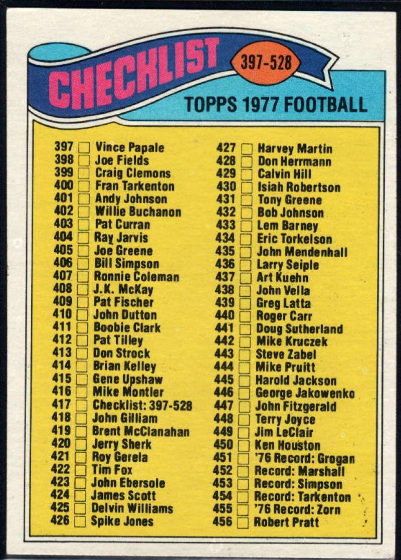 1977 Topps #417 Checklist 397-528 NM Near Mint