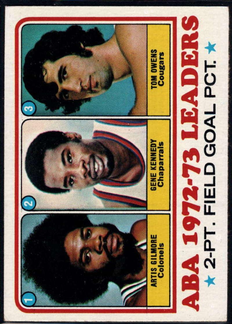 1973-74 Topps #235 ABA 2 Pt. Pct. Artis Gilmore/Gene Kennedy/Tom Owens EX/NM