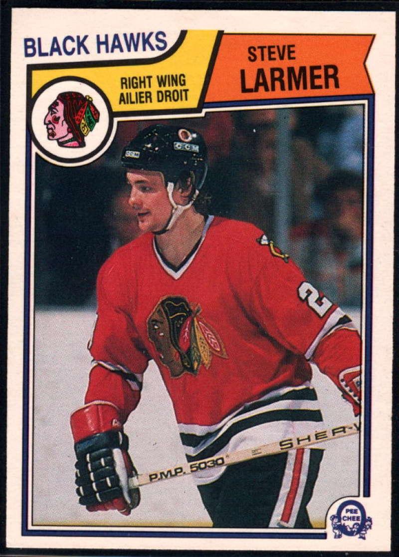 1983-84 O-Pee-Chee #105 Steve Larmer UER NM-MT RC Chicago Blackhawks