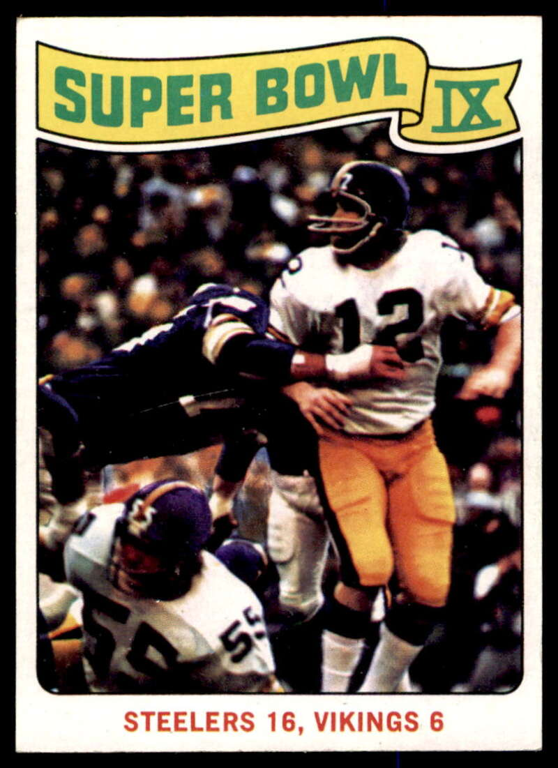 1975 Topps #528 Super Bowl IX NM Near Mint Pittsburgh Steelers/Minnesota Vikings