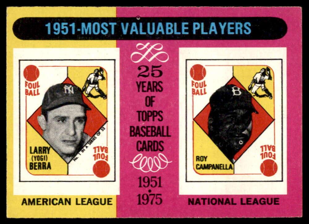 1975 Topps #189 Yogi Berra/Roy Campanella 1951 MVP's EX++ Excellent++ New York Yankees/Brooklyn Dodgers