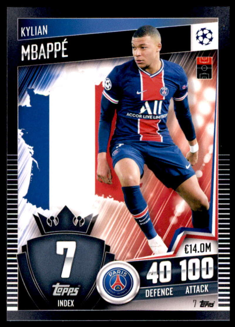 2021 Topps Match Attax 101 #7 Kylian Mbappe NM-MT+ Paris Saint-Germain