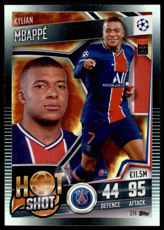 2021 Topps Match Attax 101 #214 Kylian Mbappe Hot Shot NM-MT+ Paris Saint-Germain